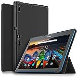 IVSO Lenovo Tab 10 Funda Case, Slim Smart Cover Funda Protectora de Cuero PU para Lenovo TAB10 / Lenovo TB-X103F Tablet (Negro)