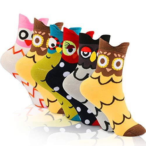 WOSTOO Calcetines de Mujer, 6 Pares Calcetines de Algodón para Mujeres Colores Mezclados Animales de Dibujos Loro Patrón Calcetines Calcetines Calientes de Divertidos Ocasionales