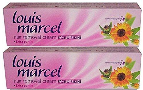 Lot de 2 – Louis Marcel Crème d'épilation visage et Bikini 75 ml – Extra Doux