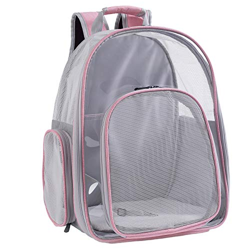 HUO ZAO Clear Cat Carrier Backpack, Breathable Pet Carrier Backpack for Fat Cat up to 16 lbs, Pet Carrier Backpack for Kitten and Small-Medium Dog (Clear)