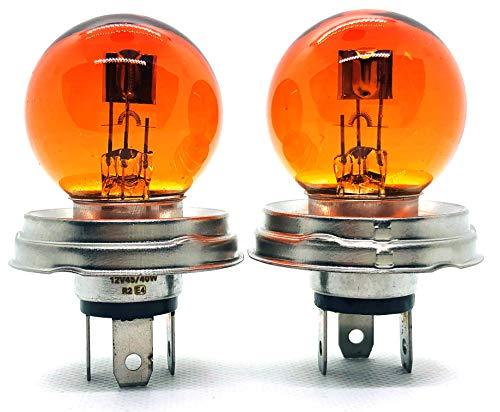 2 x R2 G40 45/40W P45t 12V YELLOW AMBER Oldtimer AUTO Halogen LAMPE GLÜHLAMPE SCHEINWERFER - INION