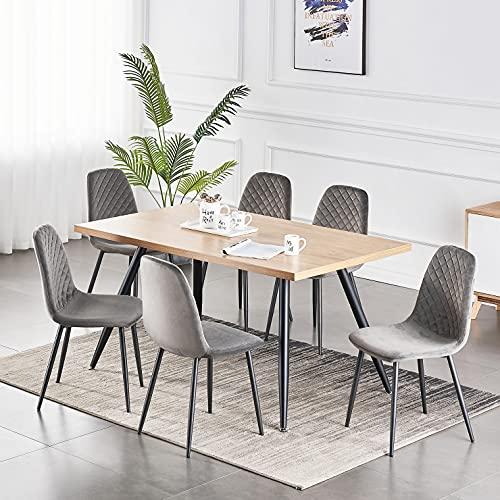 JYMTOM Esszimmerstühle 2er 4er Set Küchenstuhl Samt Stoffsitz Wohnzimmerstuhl Sessel mit Metallbeinen Rückenlehne Büro Wohnmöbel (grau, 6 Stücke)