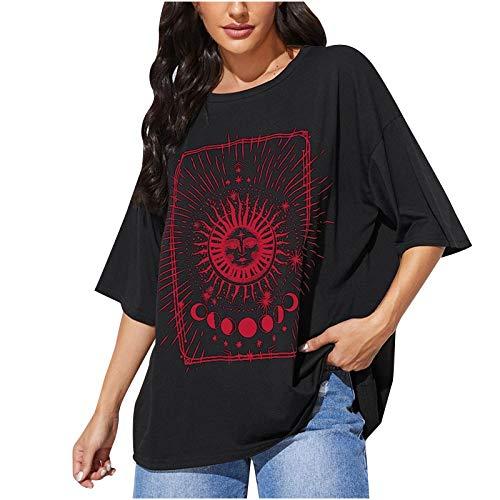 Oversize Tshirt Damen Sonne Mond Motiv Sportshirt Kurzarm, Sport Oberteile Vintage Sweatshirt Damen Rundhals Oberteile Teenager Mädchen Best Friends T Shirts Damen Lang