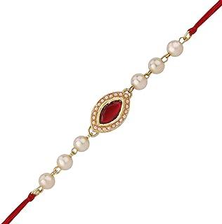 Rakhi Thread for Brother for Raksha Bandhan Handmade Pearl Design Rakhi Rakshabandhan Bracelet with Resin & Glass Stone in Kundan Design