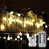 Ulmisfee Guirlande Lumineuses Extérieur 5M Guirlande Guinguette Raccordable avec 50 Ampoules Etanche Blanc Chaud 8 Modes avec télécommande Jardin Décoration pour Fête/Noël/Mariage