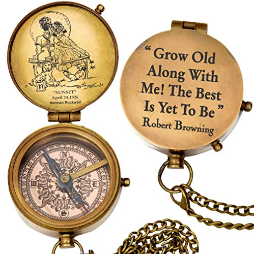 grow old along with me engraved compass with norman rockwell'sunset'...
