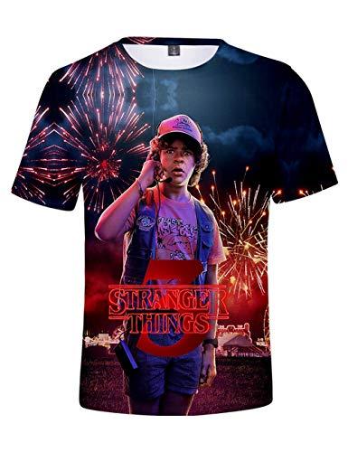 Camiseta Stranger Things Niño, Camiseta Stranger Things Mujer Unisex Impresión 3D Manga Corta T Shirt Hombre Abecedario Impresión T-Shirt Niña Camisa de Verano Regalo Camisetas y Tops (F,XXS)