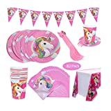 Amycute 82 Pezzi Unicorno Piatti, Tovaglioli, Tovaglia, Bicchieri, Banner - Serve 20 Ospiti, Stoviglie di Unicorno, Unicorno per Festa di Compleanno per Bambini Baby Shower (82 Pezzi)