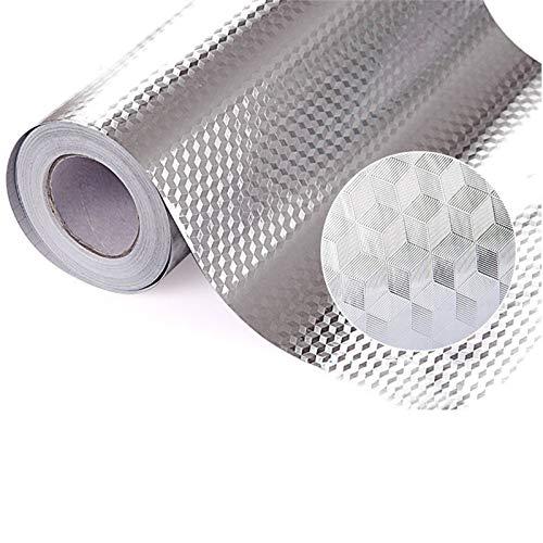 Ariymap Cubic Lattice Aluminium Foil Kitchen Wasserdicht, ölbeständig, feuchtigkeitsbeständig und selbstklebend Cabinet Wallpaper