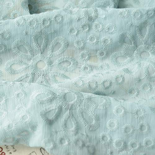 SQINAA Kant Bloemen Stof Borduurwerk Bloemen vintage Mooie zachte chiffon crêpe stof meer blauw bloemenpatroon kostuum jurk 130x50cm