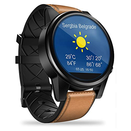LICHUXIN 4G Smart Watch, Bluetooth Smart Watch Fitness Tracker Herzfrequenz Schlaf-Tracking Kalorienzähler Tracker, Unterstützung 4G WiFi GPS Lange Batterie-Lebensdauer Smart Watch,Brown Strap