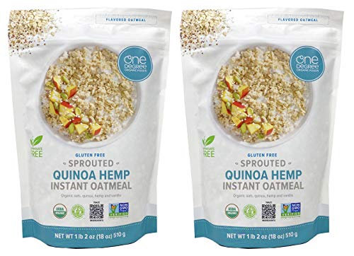 One Degree Sprouted Organic Gluten-Free Instant Oatmeal Pack of 2 - Quinoa Hemp Instant Oatmeal 18 Ounce