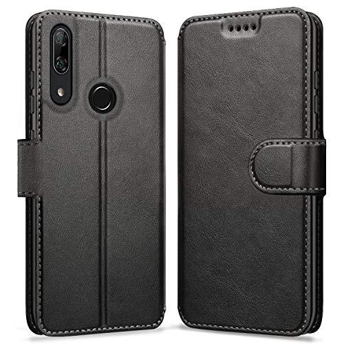 ykooe Handyhülle für Huawei P Smart Z Hülle, Schwarz PU Leder Schutzhülle für Huawei P Smart Z Flip Hülle Tasche