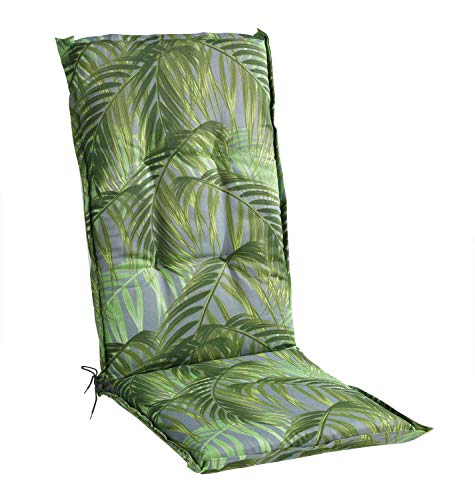 Sesselauflage Sitzpolster Gartenstuhlauflage für Hochlehner | 50 cm x 120 cm | Grün | Palmenmotiv | Baumwolle | Polyester
