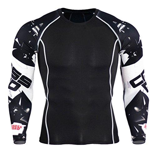 YiJee Uomo Asciugatura Veloce Tops Manica Lunga Tight T-Shirt Sports Fitness Training Compressione Come Immagine4 M