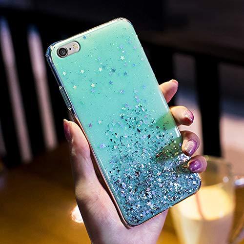 Kompatibel mit iPhone 6S Plus Hülle,Handyhülle iPhone 6 Plus Case,Glänzend Glitzer Strass Transparente TPU Silikon Hülle Case Tasche Weiche Silikon Rückseite Glitzer Schutzhülle,Grün