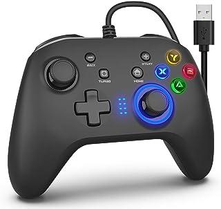 ゲームコントローラー PC 有線ゲームパッド 連射機能 モーター振動 LEDバックライト JD-SWITCH機能 スティック2つ Windows7/8/8.1/10/XP PC(Xinput)、PC(Dinput)、PS3、Android、Sw...