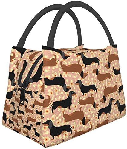Bolsas de asas multifuncionales para el almuerzo de Dachshund, bolsa térmica reutilizable, contenedor de almuerzo, bolsa aislante portátil