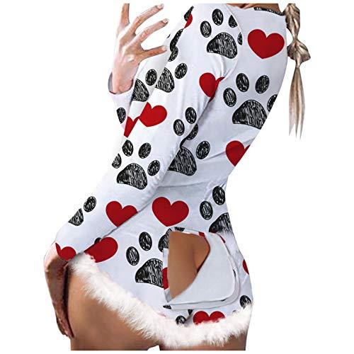 CHMORA Mameluco de mujer con estampado de corazón de manga larga para dormir, mameluco funcional con botones para adultos, regalos para mujeres