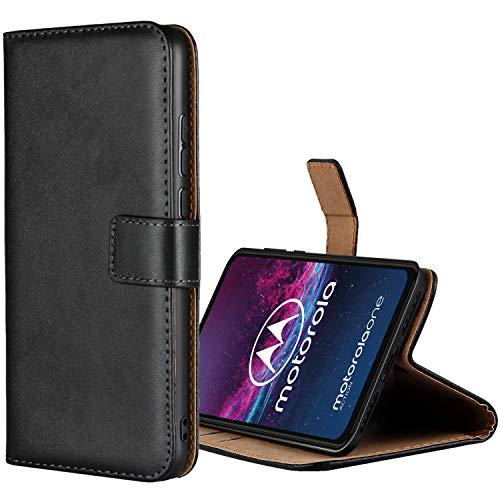 Aopan Moto One Action Hülle, Flip Echt Ledertasche Handyhülle Brieftasche Schutzhülle für Motorola Moto One Action, Schwarz