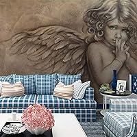 3D壁壁画壁紙絵画ヨーロピアンスタイル3Dエンボスエンジェル壁画リビングルームテレビ背景壁の装飾壁紙 140cmx100cm
