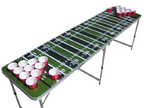 Football Field Beer Pong Table with Predrilled Cup Holes
