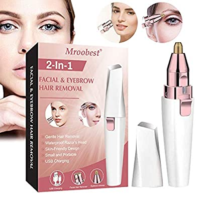 Facial Hair Remover for Women, Womens Facial Hair Razor, Lady Shaver, 2 in 1 Rechargeable USB Eyebrow Hair Remover, Eyebrow epilator for Eyebrows?Lips?Body?Facial Hair by Mroobest