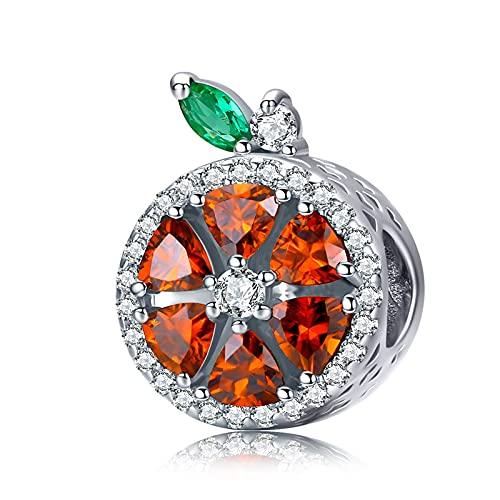 HMMJ Charms Colgantes para Pulsera Pandora de Plata de Ley 925 abalorio para Mujer - Frutas de Colores (Verano-limón-piña) (Color : Grapefruit)