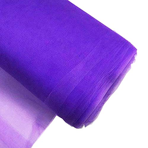 Craft And Party, 54' by 40 Yards (120 ft) Fabric Tulle Bolt for Wedding and Decoration (Purple)