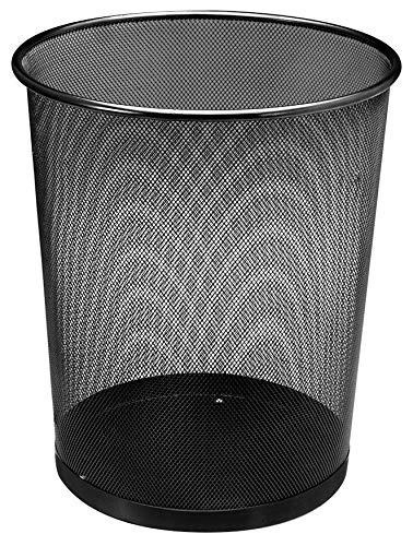 Spetebo Papierkorb Metall 13 Liter - schwarz - Papiereimer Bürokorb Abfallkorb Mülleimer