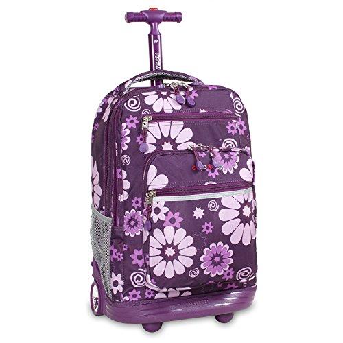 J World New York Sundance Rolling Backpack Girl Boy Roller Bookbag, Purple Flower, One Size