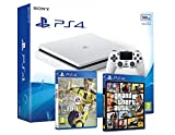 PS4 Slim 500Gb Blanca Playstation 4 Consola - Pack 2 Juegos - FIFA 17 + GTA V