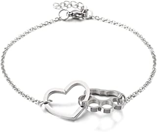 Classic Simple Cuff Accessories Stainless Steel Bracelet For Men And Women Heart-shaped Paw Print Birthday Gift Hypoallerg...
