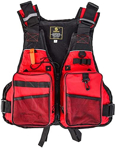 縦断勾配 Chaleco Salvavidas para Adultos Chalecos Salvavidas Kayak Snorkeling Paddle Boarding Ayuda a la flotabilidad Chaleco de Seguridad Chaleco Salvavidas(Color:Red)