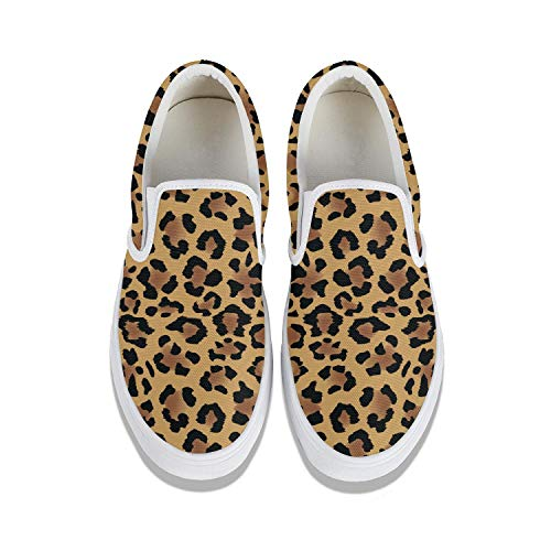 Gold leopard print skin Classic Canvas shoes Slip On Skate Sneakers women's Fashion Print cute Durable shoe