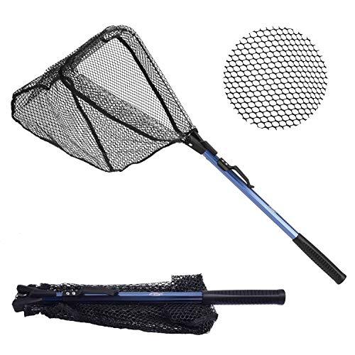 SF - Red de pesca plegable para pesca (extensible, mango telescópico, malla de goma, plegable, para pesca de kayak)