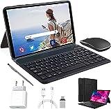 Tablet 10 Zoll Android 10.0, 64GB rom/4GB ram Quad Core 4G Tablet mit Deutsche Tastaturaufkleber Stift Tastatur, Type C, 5MP+8MP Kamera, 8000mAh Akku WiFi 4G Dual-SIM/SD Bluetooth Tablet PC (Schwarz)