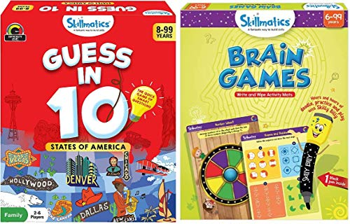 Skillmatics - Guess in 10 States of America + Brain Games Bundle | Card Game of Smart Questions + Reusable Activity Mats | Gifts for Kids