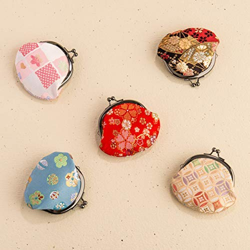 京都藝美堂西陣織2.6寸がま口財布職人手作り和柄日本製(赤)