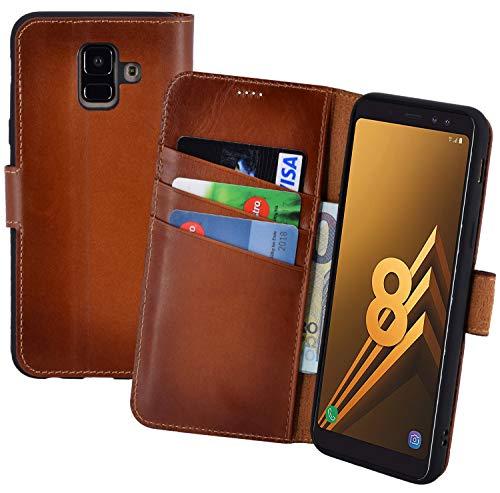 Suncase Book-Style (Slim-Fit) Leather Case Mobile Phone Case Cover (met standaard functie en kaartenvak - onbreekbare binnenschaal) voor Samsung Galaxy A8 (2018), gebrand cognac