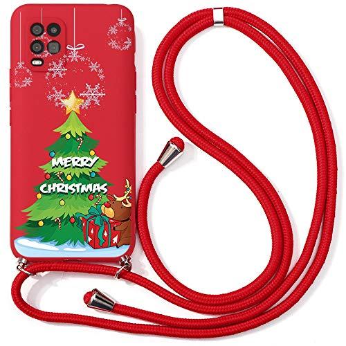 Yoedge Funda con Cuerda para Xiaomi Mi 10 Lite 5G, Navidad Cárcasa Silicona Colgante Ajustable Collar de Cuello...