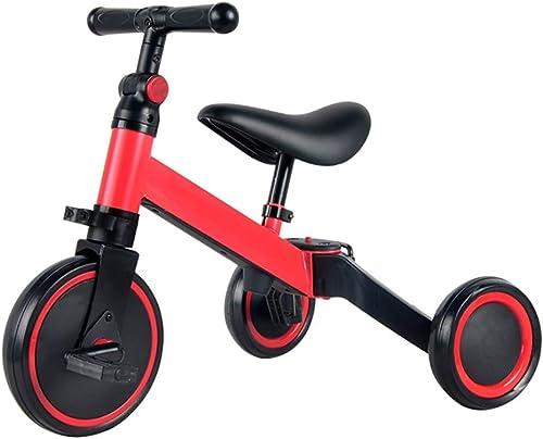 Tricycle, Peut accueillir Un Tricycle portable Multi-Fonctions pour Enfants, Tricycle extérieur pour bébé de 2 à 4 Ans, Rouge, 47x60x (30-36) Cm