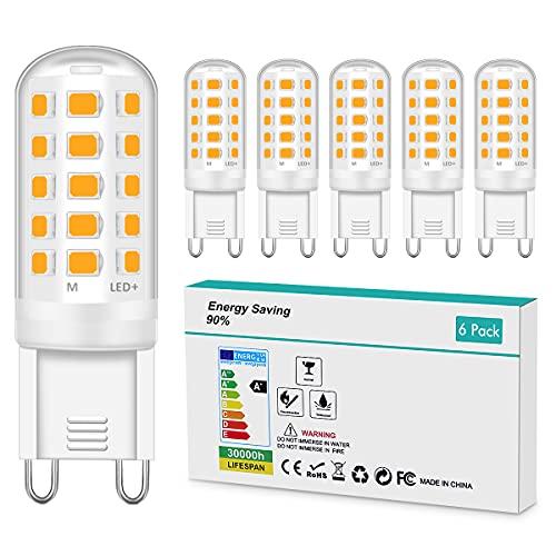 Bombillas LED G9 Blanco Cálido 3000K, 5W Equivalente a 50W Lampara Halógena No Regulable Sin Parpadeo 420LM AC...