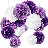 15er Set Pompoms Deko Bunt Seidenpapier Pompons für Hochzeit, Geburtstag, Party Violett Weiß (3pcs*30.5cm/6pcs*25cm/6pcs*15.5cm)
