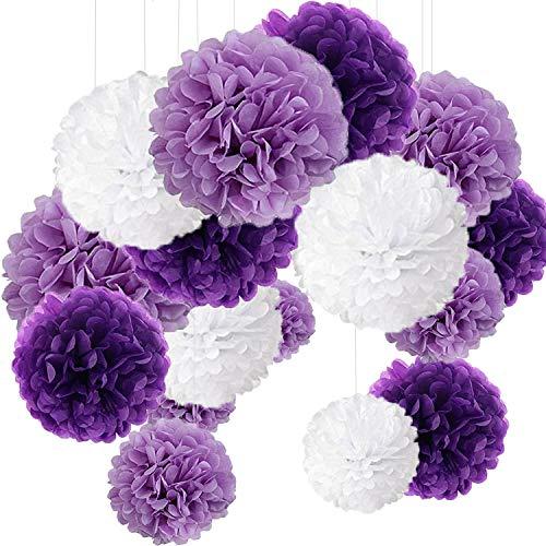 15er Set Pompoms Deko Bunt Seidenpapier Pompons für Hochzeit, Geburtstag, Party Violett Weiß...