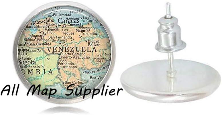 Venezuela Stud Earrings map jewelry/,A0100 Venezuela Earrings AllMapsupplier Charming Earrings,Venezuela map Stud Earrings Venezuela map Earrings