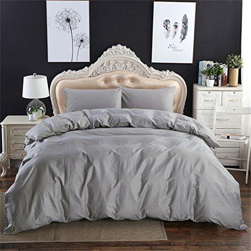 Onlylover Bettwäsche-Set, 3-teilig, 100% Baumwolle, weich, atmungsaktives Material für den Sommer, einfacher Bettbezug, 3-teiliges Bettwäscheset King grau