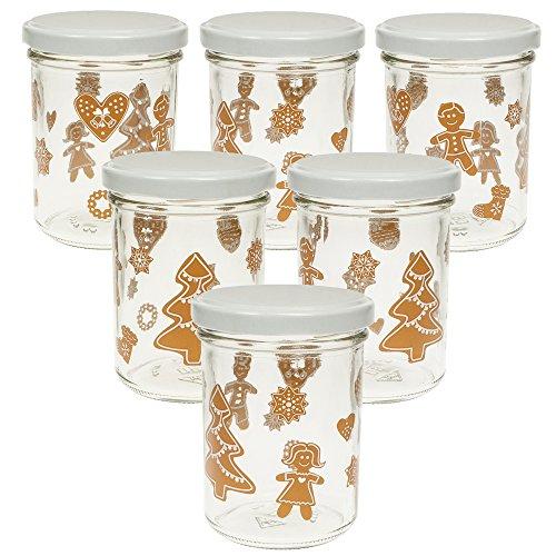 6 Einmachgläser 'Lebkuchendesign' 219 ml mit Deckel, Marmeladengläser für Weihnachten, Weihnachtsgeschenke, Geschenke aus der Küche