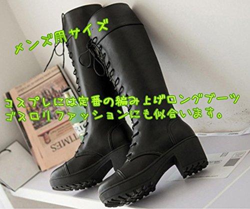 『Mille Ti Rana 編み上げ レースアップ 厚底 ロング ブーツ 黒 26 26.5 27 27.5 大きいサイズ 収納袋 2点セット 26cm』の8枚目の画像