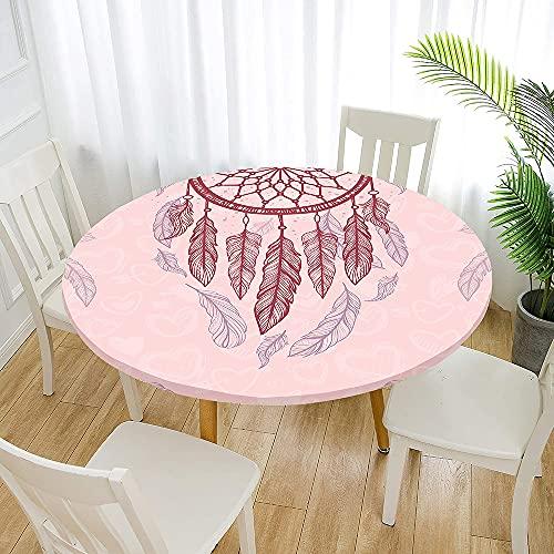 Fansu Impermeable Redondo Mantel con Borde Elástico, 3D Impresión Mantel de Mesa Elástica Ajustada Cubierta de Mesa para Picnic Comedor Cocina Restaurante Cena (Pluma Rosa,Diámetro 100cm)